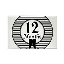 Mustache 12 Month Milestone Rectangle Magnet (10 p