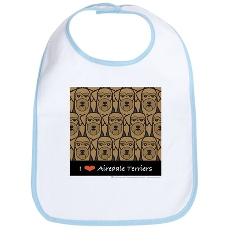 I Love Airedale Terriers Bib