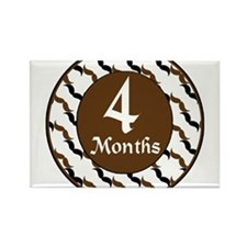 Black Brown Mustache 4 Month Milestone Rectangle M