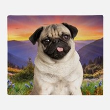 Pug Meadow Throw Blanket