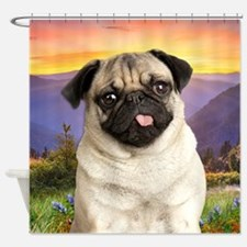 Pug Meadow Shower Curtain