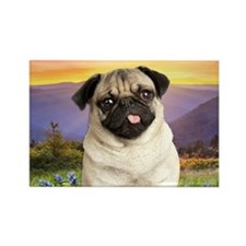 Pug Meadow Rectangle Magnet