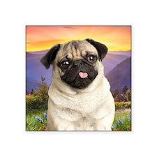 "Pug Meadow Square Sticker 3"" x 3"""