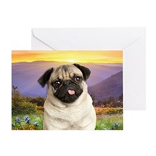 Pug Meadow Greeting Card