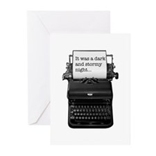 Dark and stormy night typeweriter Greeting Cards (