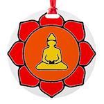 Sitting Lotus Round Ornament