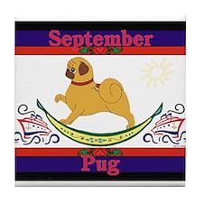 Pug Calendar Rocking Dog Tile Coaster