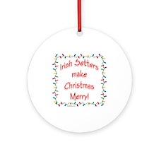 Merry Irish Setter Ornament (Round)