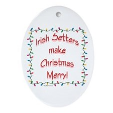 Merry Irish Setter Oval Ornament