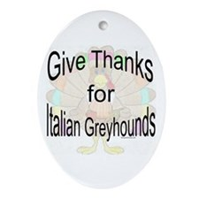 Thanks for Italian Greyhound Oval Ornament