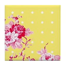 Floral Polka Dot Tile Coaster