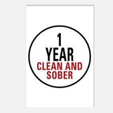1 Year Clean & Sober Postcards (Package of 8)