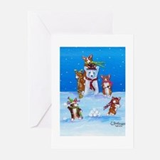 Snow Corgis III Greeting Cards