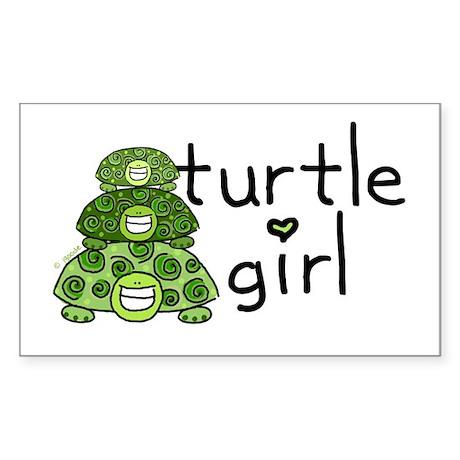 turtle girl Rectangle Sticker