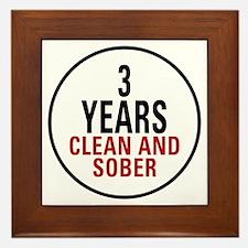 3 Years Clean & Sober Framed Tile