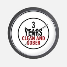 3 Years Clean & Sober Wall Clock