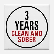 3 Years Clean & Sober Tile Coaster