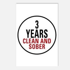 3 Years Clean & Sober Postcards (Package of 8)