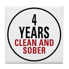 4 Years Clean & Sober Tile Coaster