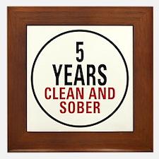5 Years Clean & Sober Framed Tile
