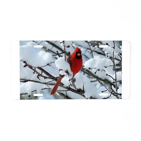 Snow Cardinal Aluminum License Plate