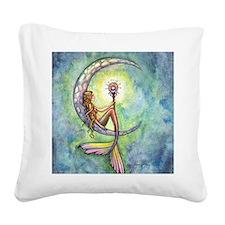 Mermaid Moon Fantasy Art Square Canvas Pillow