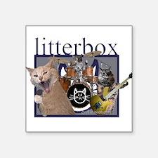 litterbox cat rock Rectangle Sticker