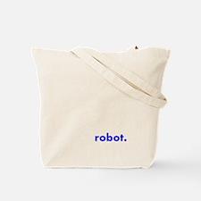 Pin-Striped Robot Tote, printing on reverse