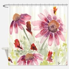 Red and Purple Wildflowers Shower Curtain