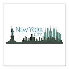 "NYC Liberty Skyline dark Square Car Magnet 3"" x 3"""