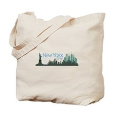 NYC Liberty Skyline dark Tote Bag