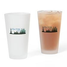 NYC Liberty Skyline dark Drinking Glass