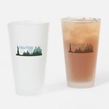 NYC Liberty Skyline dark Drinking Glass