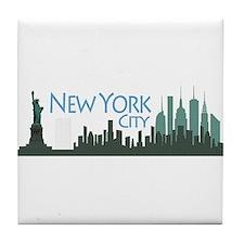 NYC Liberty Skyline dark Tile Coaster