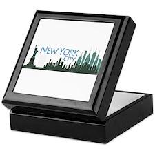 NYC Liberty Skyline dark Keepsake Box