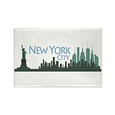 NYC Liberty Skyline dark Rectangle Magnet