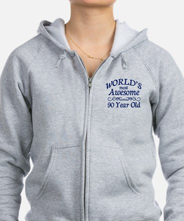 Awesome 90 Year Old Zip Hoodie