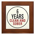 6 Years Clean & Sober Framed Tile
