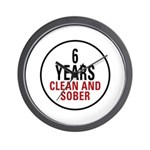 6 Years Clean & Sober Wall Clock