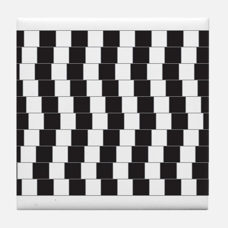 Optical illusion tilted lines Tile Coaster