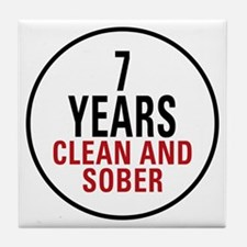 7 Years Clean & Sober Tile Coaster