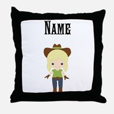 Personalize Blonde Cowgirl Throw Pillow