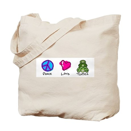 Peace, Love and turtles Tote Bag