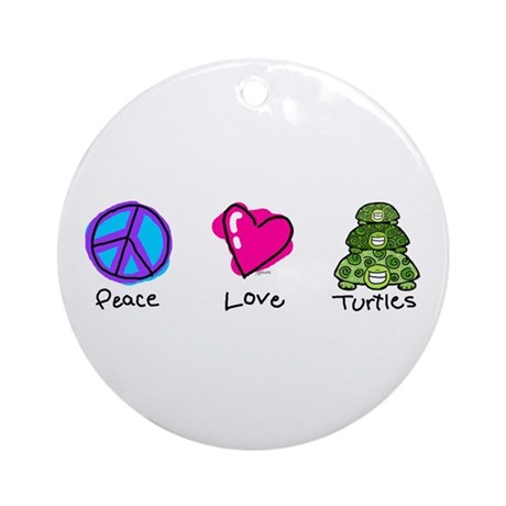 Peace, Love and turtles Ornament (Round)
