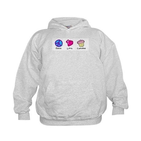 Peace, Love and cupcakes Kids Hoodie