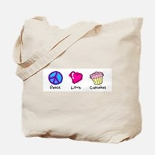 Peace, Love and cupcakes Tote Bag