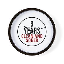 9 Years Clean & Sober Wall Clock