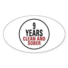 9 Years Clean & Sober Oval Decal