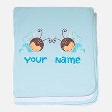 Personalized Twin Boy Butterfies baby blanket