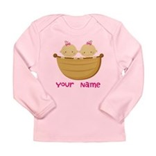 Personalized Twin Girls Long Sleeve Infant T-Shirt